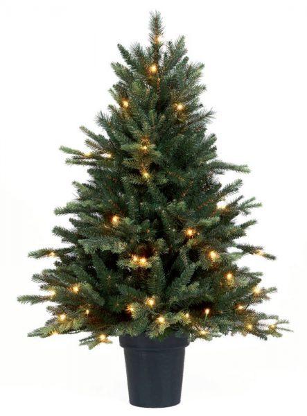 Mini kerstboom groen met lichtjes 110 cm