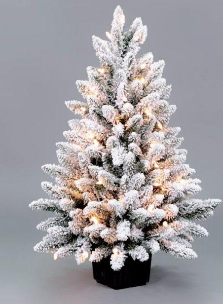 Mini kerstboom snow met lichtjes